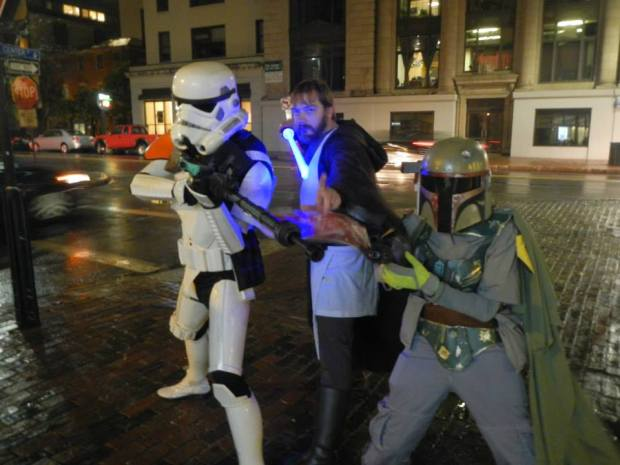 Me with Boba Fett and a Stormtrooper in Portland, Maine on Halloween