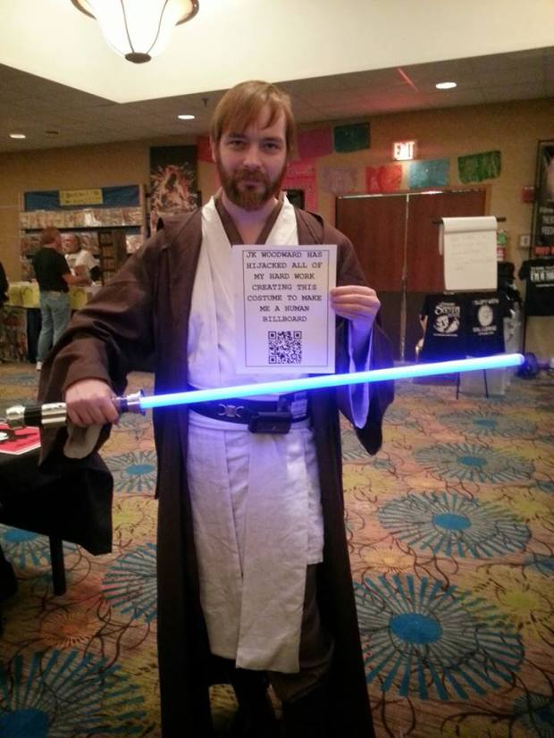 Me promoting artist J.K. Woodward's site as Obi-Wan at Coast City Comicon