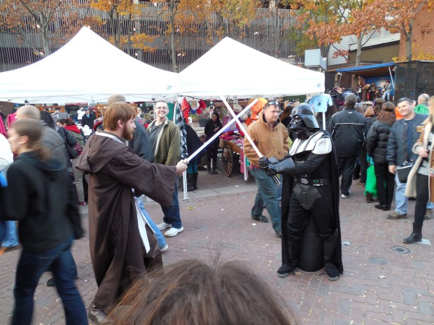 Me squaring off against Vader in Salem, Mass