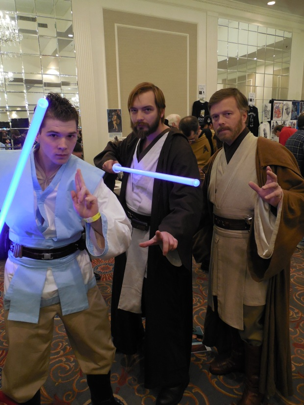 Me with some other Obi-Wan cosplayers of various ages at Super Megafest