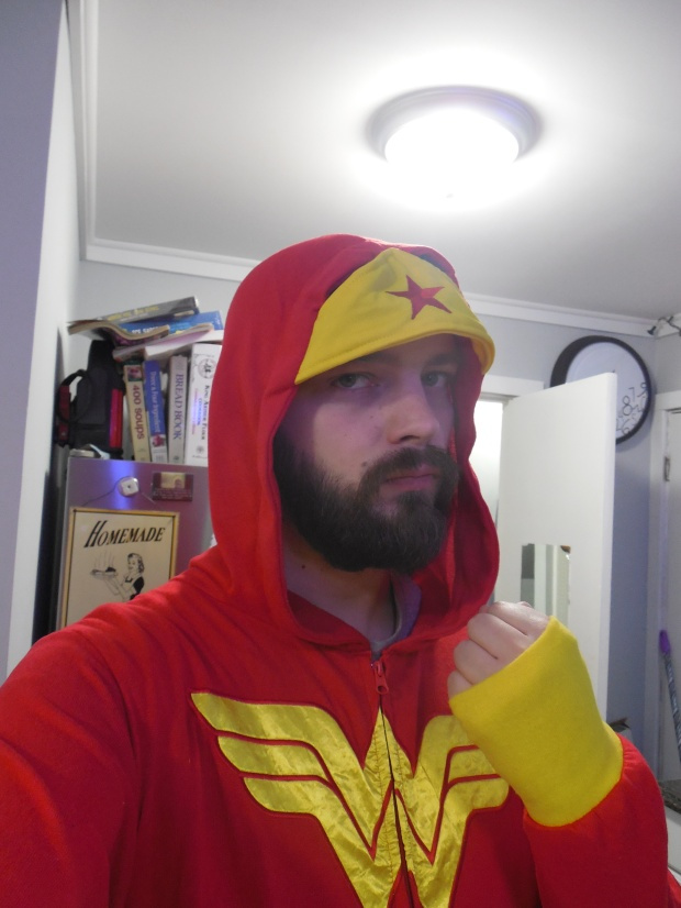 "Me in a Wonder Woman Onesie I got for Christmas from my ""Secret Santa"" at work."